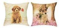 Capa de Almofada Cão e flores