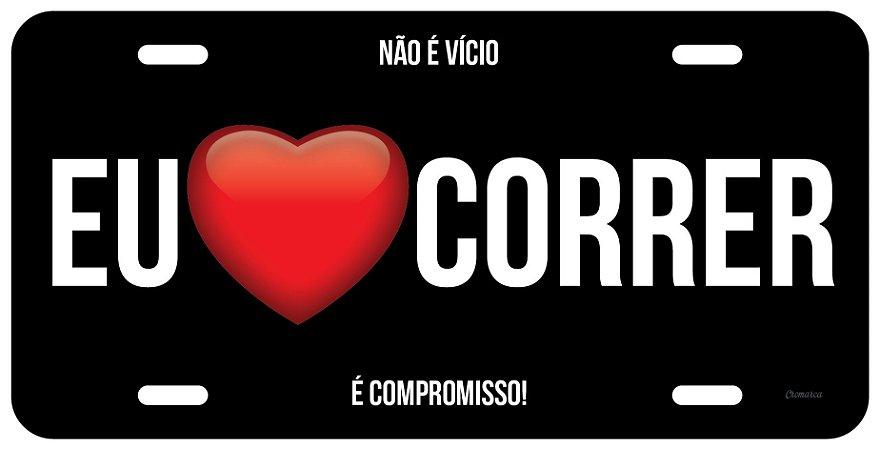 "Placa Decorativa Corrida ""Amo Correr preto"""