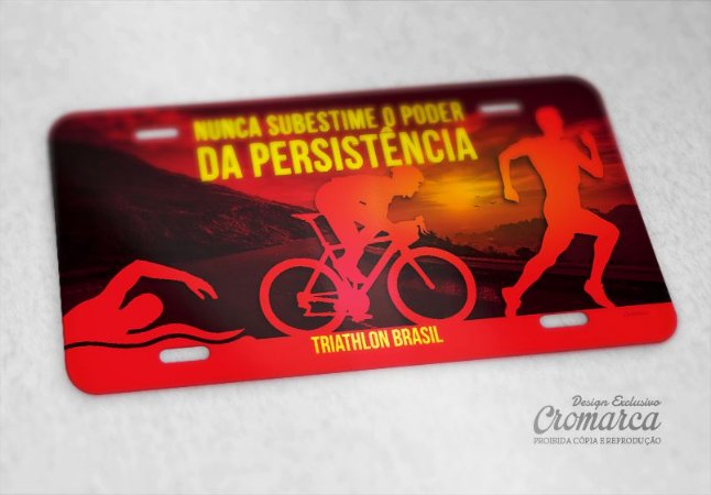 "Placa Decorativa Triathlon ""Persistência"""