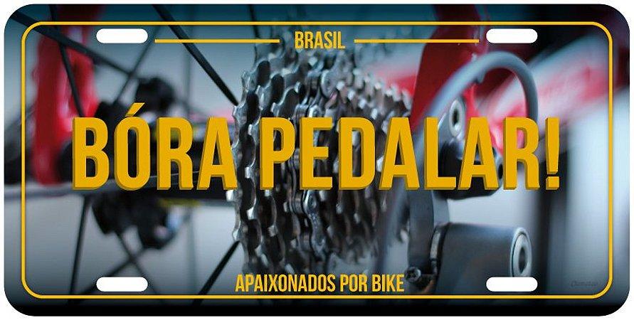 """Placa Decorativa Bike """"Bora Pedalar"""""""