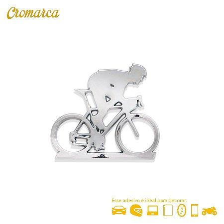 Adesivo CROMADO - Ciclista - Triathlon