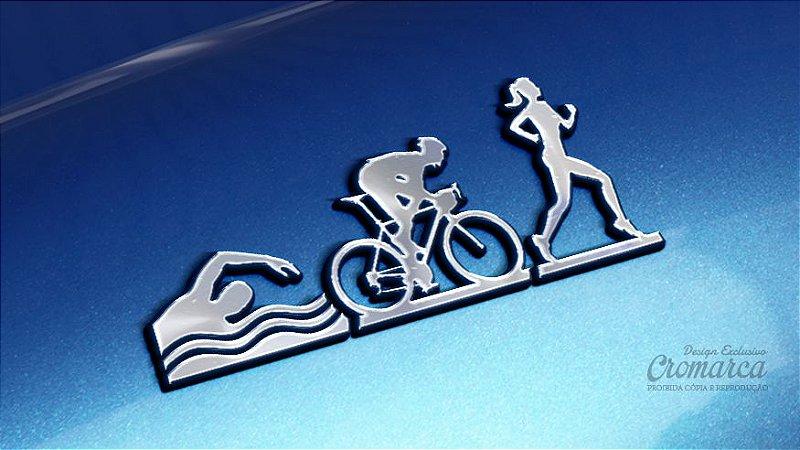 Adesivo Triathlon - FEM (Cromado e Preto)