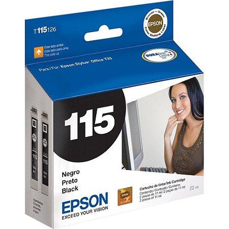 Cartucho de Tinta Epson p/stylus Preto 115 / T115126AL Original cx 2 unidades