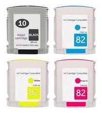 Kit 4 cores Cartucho de Tinta Mecsupri Compatível com HP 10 preto e HP 82 Preto Amarelo Magenta e Ciano