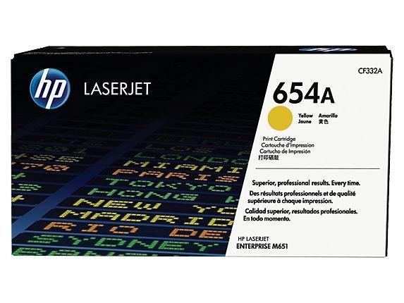 Cartucho de toner LaserJet amarelo HP 654A original (CF332A)
