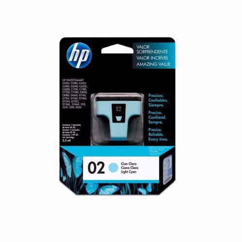 Cartucho HP 02 Cian Claro Original (C8774WL) Para HP Photosmart 8230, 3210xi, 3310xi, D7160, C5180 CX 1 UN