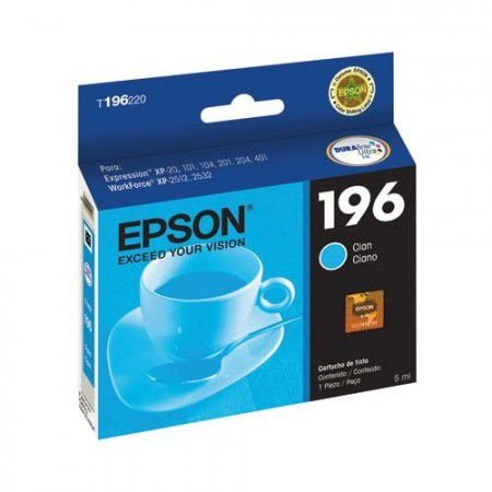 Cartucho de Tinta Epson 196 Ciano T196220 BR Original