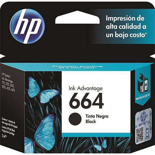 Cartucho HP 664 preto F6V29AB Original