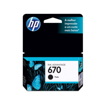 Cartucho de Tinta HP 670 K  CZ113AB - Black Original