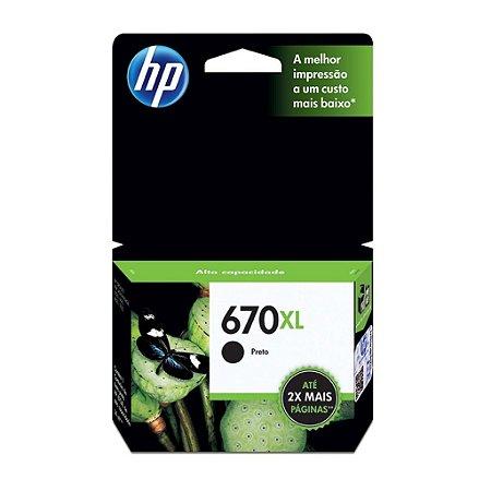 Cartucho de tinta  HP 670XL CZ117AB Preto Original
