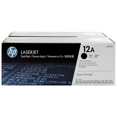 Toner HP 12A Preto Dual Pack Laserjet Original (Q2612AE) Para HP Laserjet 1018, M1319f CX 1 UN