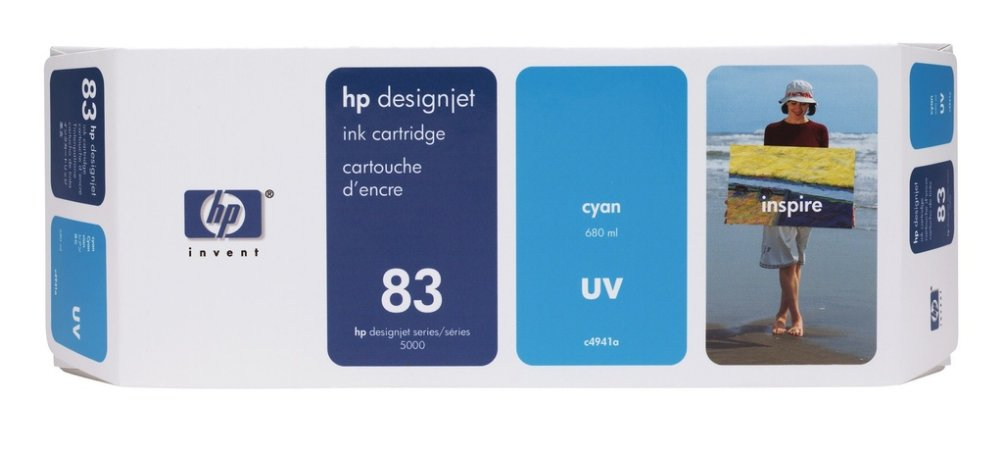 Cartucho HP 83 UV Ciano C4941A Original