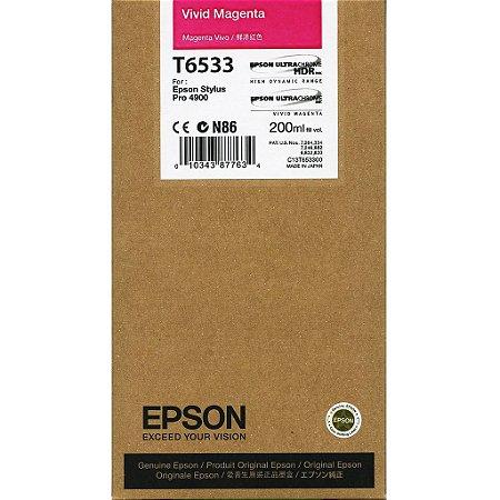 Cartucho de Tinta Epson T6533 Vivid Magenta p/ Stylus Pro 4900 Original
