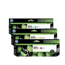 Kit 3 cores de Cartucho de Tinta HP 971XL Cyan Magenta Amarelo CN626AM / CN627AM / CN628AM Original