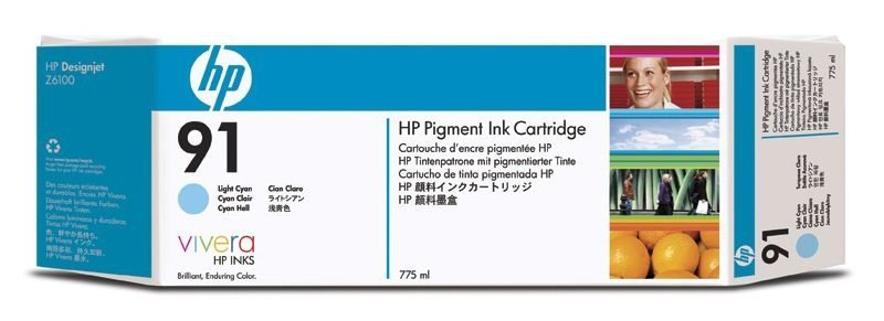 Cartucho HP para plotter 91  cian light C9470A