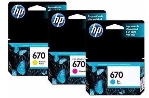 Cartuchos HP 670 Color Kit Com 3 Cores Original