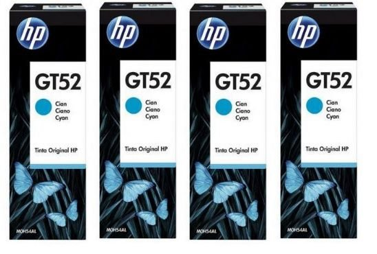 Kit Combo com 4 unidades de Garrafa de Tinta HP Ciano GT52 M0H54AL para HP DeskJet GT 5822 Original