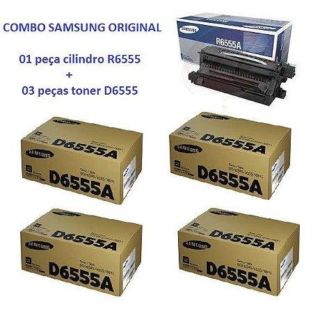 Combo de 4 Cartucho de Toner Samsung SCX-D6555A  + 1 Unidade de Imagem Cilindro Samsung SCX-R6555 / SCX-R6555A Original
