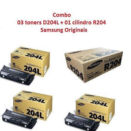 Combo de 3 Cartucho de Toner Samsung preto MLT-D204L Original + 1 Cilindro Samsung MLT R204 Original