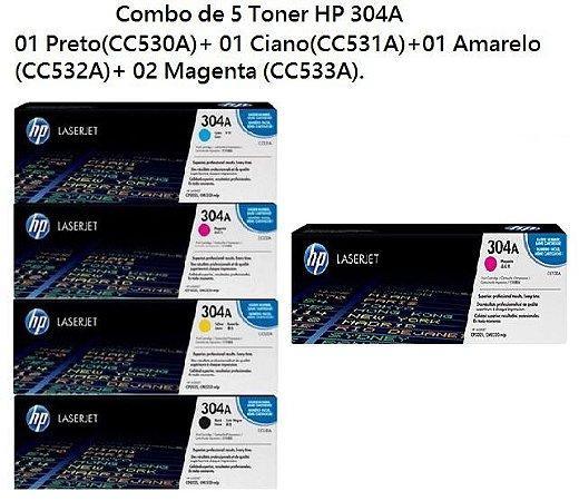 Kit Combo com 5 Toners HP 304A - 01 Preto(CC530A) + 01 Ciano(CC531A)+ 01 Amarelo(CC532A)+ 02 Magenta(CC533A)