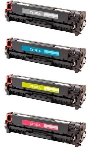Kit de 4 Toner Compatíveis HP 312A - 01 Preto(CF380A) + 01 Ciano(CF381A)+ 01 Amarelo(CF382A)+ 02 Magenta(CF383A)