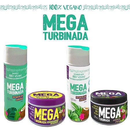 Kit Mega Turbinada Restauração e Matização Vegana- 4 Produtos (Shampoo 250ml, Condicionador 250ml, Máscara restauradora 250g, Máscara Matizante)
