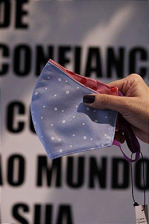 MÁSCARA DE TECIDO FEMININA CONTI PINGOS AZUL