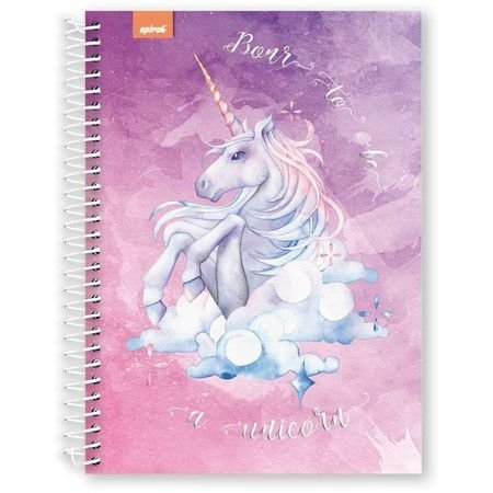 Caderno Universitário Capa Dura 96 fls Born to be Unicorn SPIRAL