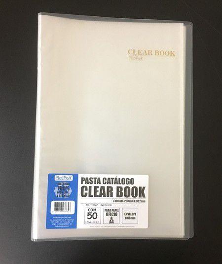 Pasta Catálogo Clearbook PlastPark com 50 envelopes plásticos - transparente