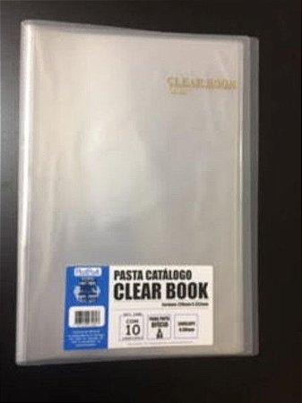 Pasta Catálogo Clearbook PlastPark com 10 envelopes plásticos - transparente