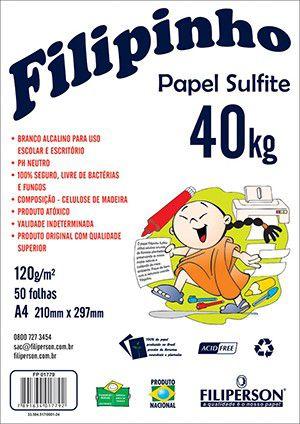 PAPEL FILIPINHO SULFITE 40K A4 120G BRANCO 50FLS - FILIPAPER