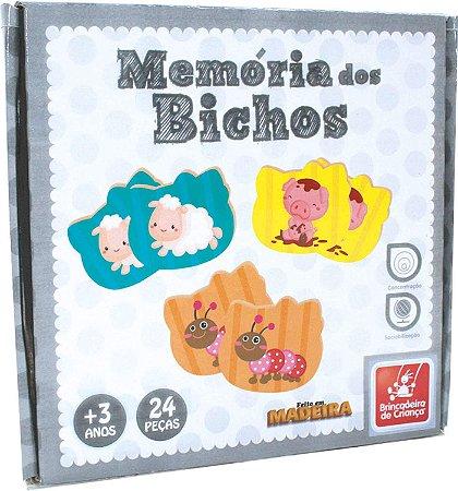 JOGO DA MEMORIA EM MADEIRA - BICHOS - 24 peças