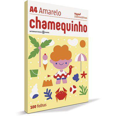 Papel Sulfite Chamequinho A4 75g - AMARELO - pacote 100 fls