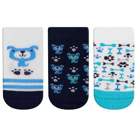 Meia Fun Socks Bebê 3 pares Cachorro Winston