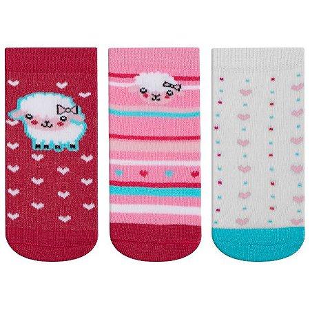 Meia Fun Socks Bebê 3 pares Ovelhinha Winston