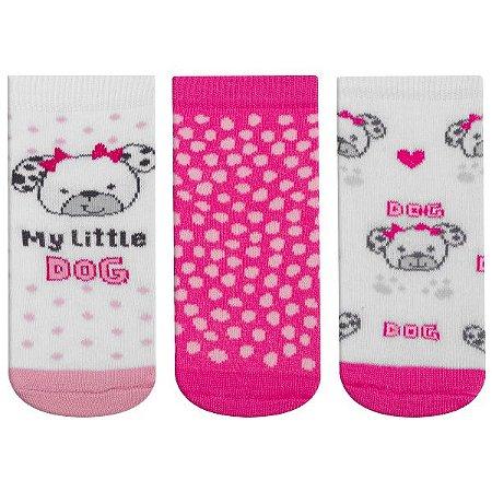 Meia Fun Socks Bebê 3 pares Little Dog Winston