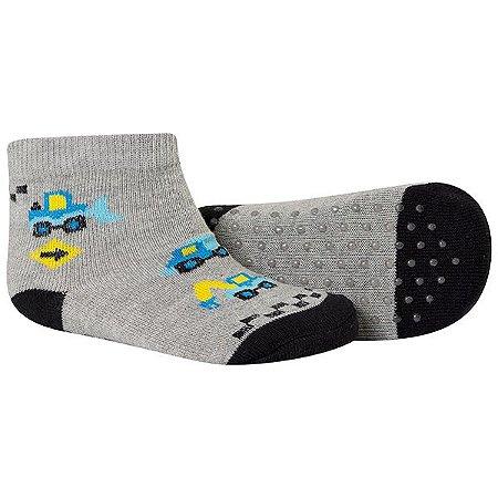 Meia Comfort Socks Antiderrapante Masculino Cinza e Preto