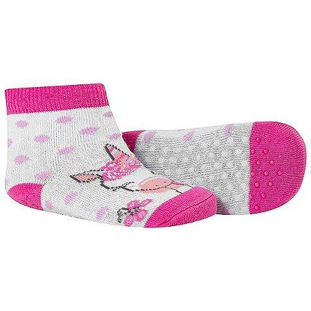 Meia Comfort Socks Antiderrapante Feminino Pink e Branco