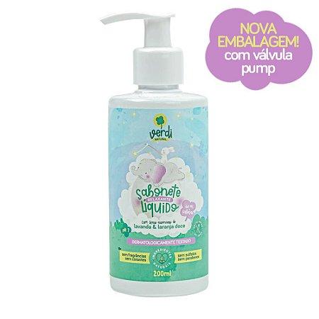 Sabonete Liquido e Shampoo Infantil Relaxante com Oleos Essenciais de Lavanda e Laranja Doce - Nova Embalagem