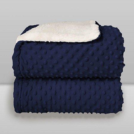Cobertor Infantil 0,90X1,10 Sherpa Dots Azul Navy