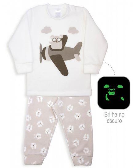 Pijama Microsoft Bichinhos de Pano Bege Dedeka