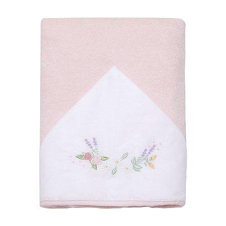Toalha de Banho Atoalhada c/ Capuz Bordado Floral Papi