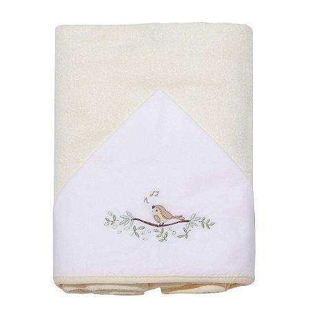 Toalha de Banho Atoalhada c/ Capuz Bordado Pássaros Papi