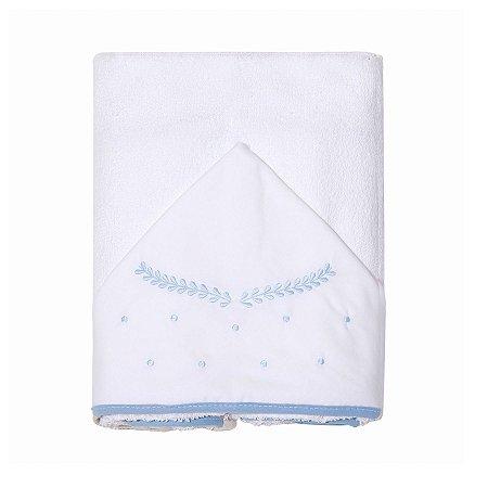 Toalha de Banho Felpuda c/ Capuz Bordado Clássico Azul Papi