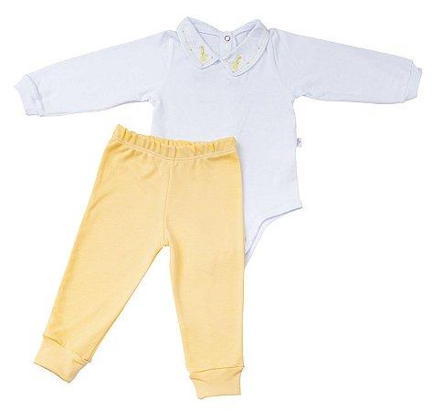 Conjunto Body e Calca Luxo Menino Amarelo D`bella for Baby