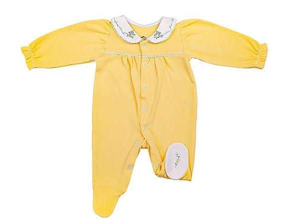 Macacão Luxo Menina Amarelo D`Bella for Baby