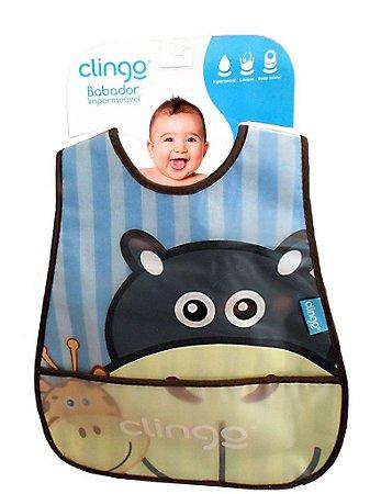Babador Impermeável com Bolso - Hipopótamo 2pçs - Clingo