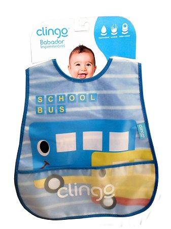 Babador Impermeável com Bolso - School Bus 2pçs - Clingo