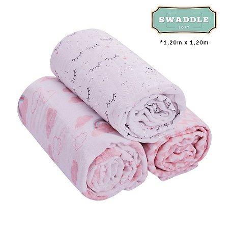 Cueiro Swaddle Soft Premium Papi Baby 1,20x1,20m Feminino 3 peças