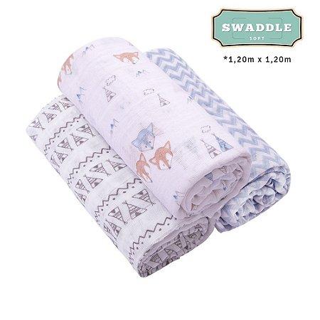 Cueiro Swaddle Soft Premium Papi Baby 1,20x1,20m Masculino 3 peças